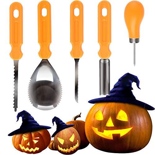 ANSUG Kürbis-Schnitzset, 5 Stück Edelstahl Halloween Kürbis Carving Tool Kit DIY Kürbis Dekoration mit Verwendung Bedienungsanleitung (Mit Halloween-kürbis Bohrer Schnitzen)