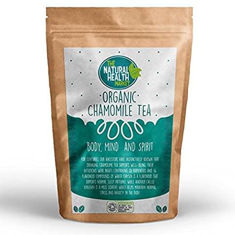 Organic Chamomile Tea Bags By The Natural Health Market • Soil Association Certified Organic • Natural Unbleached Chamomile Tea Bags • NON GMO • Relaxing Natural Herbal Tea (50