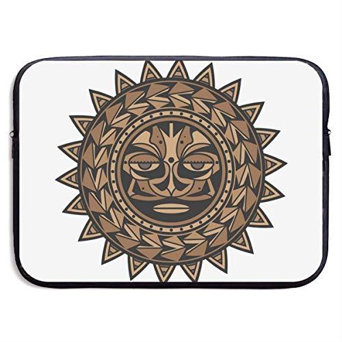 Polynesische Tätowierung Design Gesicht 13-15 Zoll Laptop-Hülle Tasche tragbare Dual-Zipper-Hülle Tasche Inhaber Tablet-Tasche, wasserdicht, schwarz, 15 Zoll -