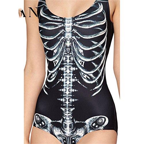 demode Frauen Dreieck Monokini Badeanzug Frauen 3D Schwarz Slim Cosplay Drucken weibliche Badeanzüge (Halloween-badeanzüge)