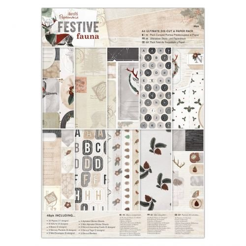 A4 Ultimate Die-cut & Paper Pack (48pk) - Festive Fauna (Kit Art Ultimate Supply)