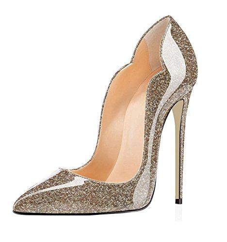 EDEFS Scarpe col Tacco Donna Classico Ritaglio High Heels Chiuse Davanti Scarpa Glitter Gold