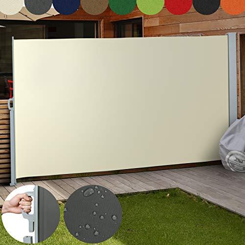 Jago Seitenmarkise Farbauswahl/Größenauswahl (160x300cm, 180x300cm, 200x300cm), für Balkon Terrasse Garten Sonnenschutz Sichtschutz Windschutz, (Beige / 200x300cm)