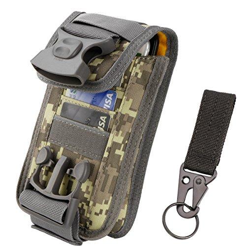 Kapazität Karte (Shidan Doppel Kapazitäts Gürtelclip Beutel, Molle Beutel EDC Gerät Beutel Mobiltelefon Taktischer Gürtel Taillen mit Karten Fächern für iPhone XsMax X 8+ 8 7, Samsung S10+ S10 S10e S9 S8 S7)