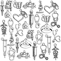 Wholesale Charms and Pendants,75pcs Antique Silver Medical Nurse Charms Stethoscope Nurse Cap Charms for Jewelry Making Crafting,15 Styles