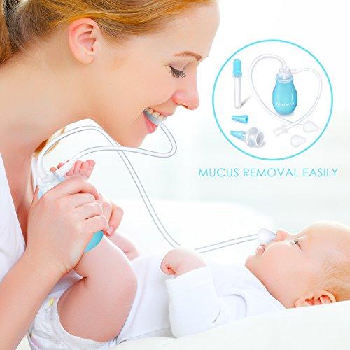 Nasensauger Baby Nasensekretsauger mit 2 Mundstücke und 2 Silikonauffanggefäß, Zusätzliche, Medizin Dropper, Nasenschleimentferner für Kinder Neugeborener