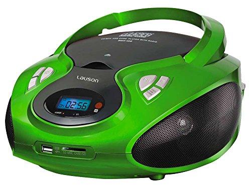 Lauson CD-Player | Tragbares Stereo Radio | Kinder Radio | Stereo Radio | Stereoanlage | USB | CD / MP3 Player | Radio | Kopfhöreranschluss | AUX IN | LCD-Display | Batterie sowie Strombetrieb | CP433 (Grün) (Cd-player Tragbare Stereoanlage)