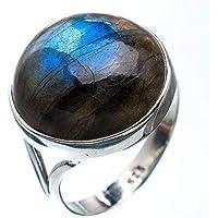 Bague en argent en Labradorite, bague en argent en feu Labradorite bleue, argent sterling 925, bague en argent, bijoux faits à la main, taille 44 à 68 FR