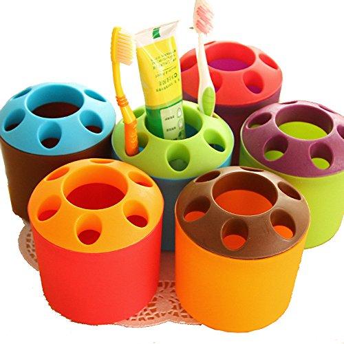 Cute Colorful Multi Nutzung Kunststoff Familie Badezimmer Zahnbürste Kosmetik Bürste Schere Stift Ständer Halter Cup Rack Aufbewahrung blau