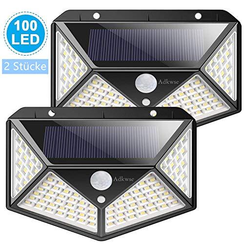 Adkwse Solarleuchten für Außen,100 LEDs Solarlampen für Außen mit Bewegungsmelder Solar Wandleuchte Superhelle Beleuchtung Wasserdicht für Gärten,Türe,Flur,Wege [ Energiespartipp - 2 Stücke]