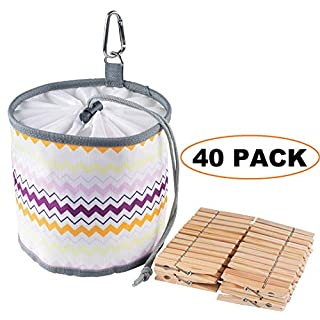 Frank Pressie Large Peg Bag with Hanger Clip Waterproof Weather Resistant Outdoor Pin Clothes Organiser for Washing Line with 40 Wooden Pegs Included