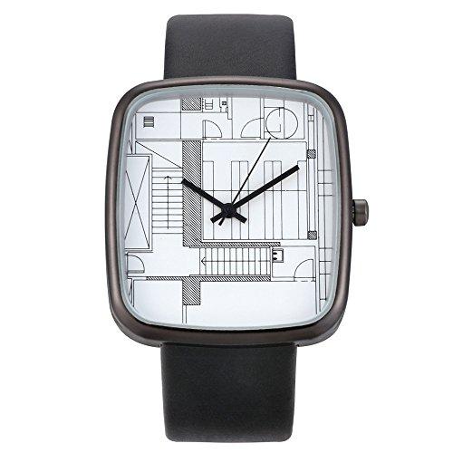 Deloito Damen Uhr Mode Lederband Schnalle Uhren Einfaches Analog Quarz Runde Armbanduhr (D)