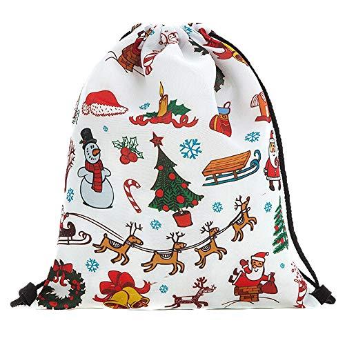 auß-Taschen-Weihnachtsrucksack-Kordelzug-Weihnachtsbeutel A, Malloom Aufbewahrungstasche Weihnachtsgeschenkbeutel Leinenrucksackbeutel Weihnachtskordelzugbeutel A ()