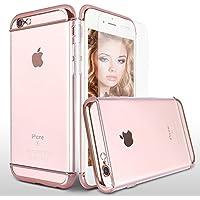 iPhone 6S Custodia Cover, Mothca 3 in 1 Cristallo Clear Placcatura Telaio Difficile Caso Antiurto e 360 Gradi Corpo Pieno protettiva con Premio Protezione dello schermo in vetro temperato, Kit accessori per iPhone 6S (Oro