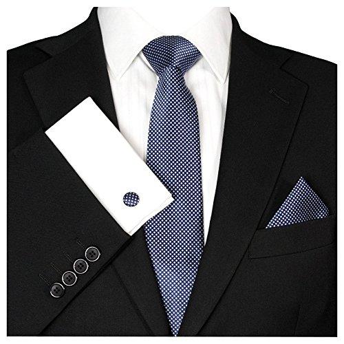 GASSANI Herrenkrawatte Krawattenset Dunkel-Blaue Weisse Karo-Muster, Schmale Skinny Hochzeitskrawatte Herrenschlips Einstecktuch Manschettenknöpfe