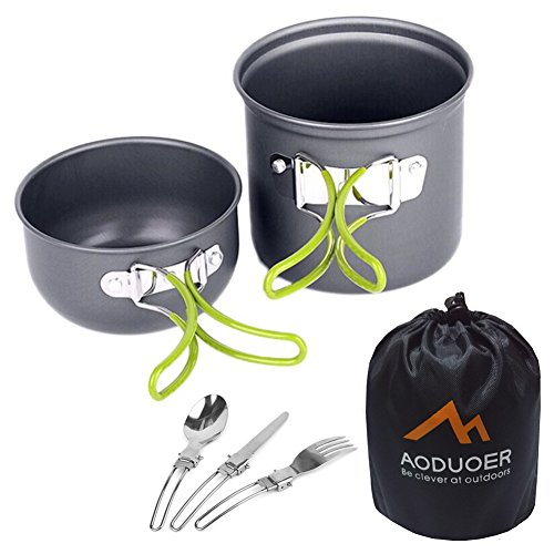 Camping Cookware Mess Kit Outdoor Cooking Equipment 7 Piece Cookset Camp Pot Pan Bowls - Free Folding Utensil Set | Lightweight, Compact, & Durable for Backpacking, Hiking and Picnic (For 1 Person)