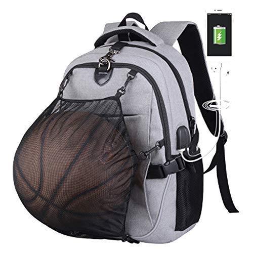 Basketball-Rucksack mit USB-Aufladung, wasserdicht, 39,6 cm (15,6 Zoll) Laptop, mit Ballnetz, grau