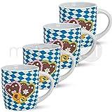 Bunte Tassen Becher Kaffeebecher Bayrisch & Oktoberfest 4 Stk. Aus Keramik 9 cm / 250 ml