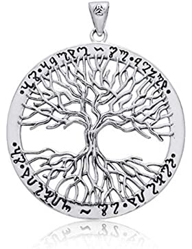 Wiccan Baum des Lebens Sterling Silber Anhänger