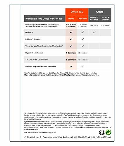 Microsoft Office 365 Home multilingual | 5 Geräte | 1 Jahresabonnement | PC/Mac | Download - 2