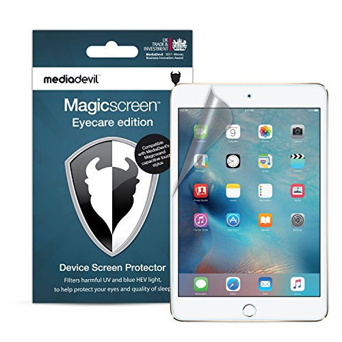 MediaDevil Apple iPad Mini 1, 2, 3 (2012, 2013, 2014) Displayschutzfolie: Magicscreen Eyecare Edition - Anti UV Light, Anti Blue/HEV Light [2 Stück] Screen Protector Crystal Blue
