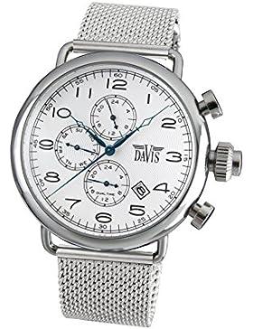 Davis 1931MB - Herren Pilot Uhr Retro Ziffernblatt Weiß Dualzeit Tag Datum Mesh Armband