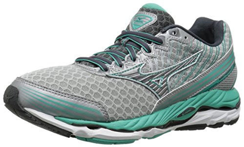 Mizuno Women's Wave Paradox 2 Running Shoe, Silver/Dark Shadow, 7 B US