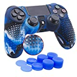 YoRHa Borchie Cassa pelle copertura silicone skin cover per Sony PS4/Slim/Pro Controller x 1 (camuffare blu) Con PRO presa del pollice thumb grips x 8