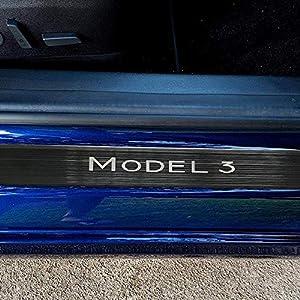 adecuadas para Tesla Model 3 travesa/ño de Puerta de Fibra de Carbono heresell Pegatinas traseras de umbral de Puerta de Coche de umbral de Fibra de Carbono de umbral de Puerta de Garaje