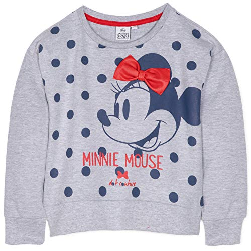 Disney Minnie Mouse Mädchen Pullover Sweatshirt Top Classic Style mit Schleife und Figuren Bild 100% Baumwolle 2-8 Jahre Gr. 2-3 Jahre (3 Jahre Etikett), grau (Disney Figuren Bilder Und Kostüm)