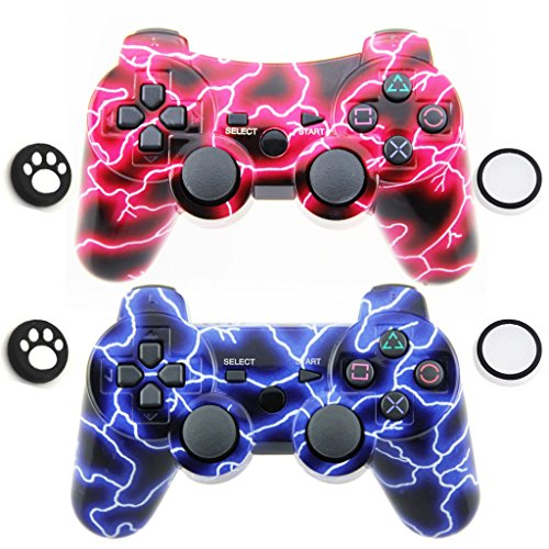 Bluetooth Wireless Dualshock Remote Game-Controller Gamepad Joystick für Bluetooth Conection Game (2 Stück) Rot/Blau - Ps3 Blau Wireless Controller