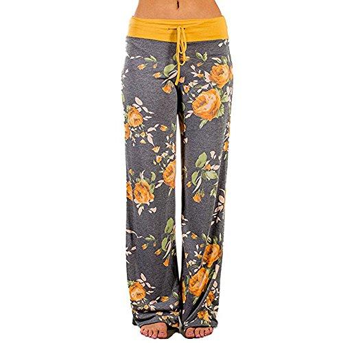 Sunenjoy Pantalon Femme Pantalon Ample Palazzo Jambe Large de Sport Lâche Fitness Jogging Yoga Été Chic Taille Haute Élastique Cordon Pants Trousers Imprimé Casual Mode Leggings (3XL, Jaune)