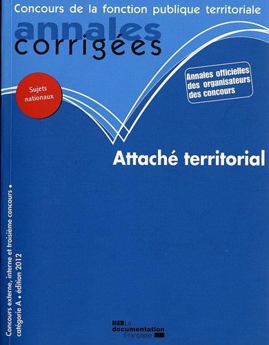 Attaché territorial 2012 -  Concours externe, int...