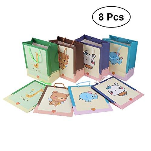 TOYMYTOY Geschenk-Taschen mit Griffen, Cartoon Tier gedruckt Süßigkeiten Taschen für Baby-Dusche, 8 Stück