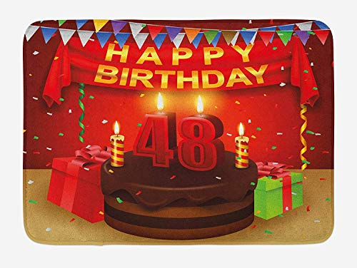 tgyew 48th Birthday Bath Mat, Presents and Chocolate Cake with Candles Party Flag Artsy Design Print, Plush Bathroom Decor Mat with Non Slip Backing, 23.6 W X 15.7 W Inches, Red Brown Lime