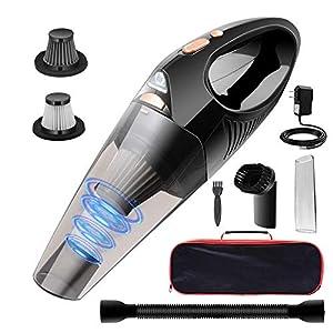 DOFLY Kabelloser Handstaubsauger, 8500PA Saugleistung Handsauger, Wiederaufladbarer Akku Staubsauger mit Waschbarem Filter, Nass & Trocken Autostaubsauger mit LED-Licht für Auto Zuhause