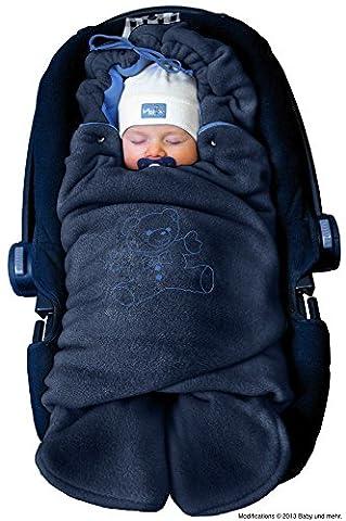 ByBUM - Baby Winter-Einschlagdecke 'Das Original mit dem Bären', Universal für Babyschale, Autositz, z.B. für Maxi-Cosi, Römer, für Kinderwagen, Buggy oder Babybett, Farbe:Dunkelblau/Blau