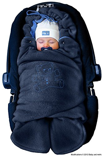 ByBUM - Baby Winter-Einschlagdecke \'Das Original mit dem Bären\', Universal für Babyschale, Autositz, z.B. für Maxi-Cosi, Römer, für Kinderwagen, Buggy oder Babybett, Farbe:Dunkelblau/Blau