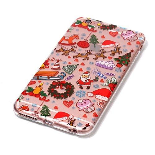 Etsue Custodia iPhone 6 Plus Trasparente,Colorate Dipinto Modello Con Disegni,iPhone 6S Plus Cover in Silicone Tpu Flessible Sottile Antiscivolo e Antigraffio Protettivo Cover Bumper Case Per iPhone 6 Parco giochi di Natale