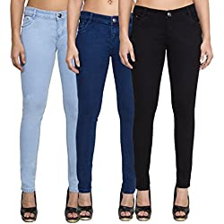 Cladien (Since 1958), Cotton Lycra, Women Jeans Combo, Pack of 3