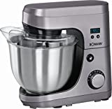 Küchenmaschine mit elektronischer Geschwindigkeitsregelung + Pulsfunktion Rührmaschine Mixer Knet-Maschine Schneebesen Mixer (sparsame 600 Watt Motor + ca. 4,2 Liter Edelstahlschüssel)