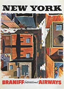 Vintage Travel AMERICA for NEW YORK WITH BRANHIFF INTERNATIONAL AIRWAYS 250gsm ART CARD Gloss A3 Reproduction Poster
