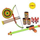 littlefun 2-en-1 enfants tir à l'arc jouet ensemble arc flèche cible toxophile pour jardin patio