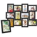 """MVPOWER Marco de Foto 13 Fotos -12 Fotos de Pared 10x15 cm (4 x 6 """") y una foto de 13x18 cm Blancos de MDF Set de 13 Marcos Color Blanco/ Negro (13 Marcos Negro MDF)"""
