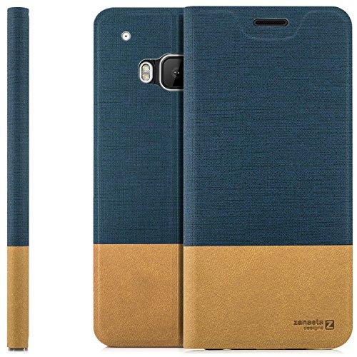 zanasta Designs Tasche HTC One M9 Hülle Flip Case Slim Schutzhülle Handytasche mit Kartenfach, Standfunktion | Blau