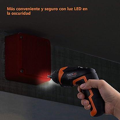 Destornillador Eléctrico Inalámbrico, Tacklife SDP51DC Atornillador Pequeño Recargable, 33 Accesorios (Incluye Adaptador de Ángulo y Broca)Máximo Torque: 4 N.m