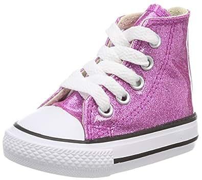 Converse Unisex-Kinder CTAS Hi Bright Violet/Natural/White Hohe Sneaker, Pink (Bright Violet/Natural/White), 25 EU