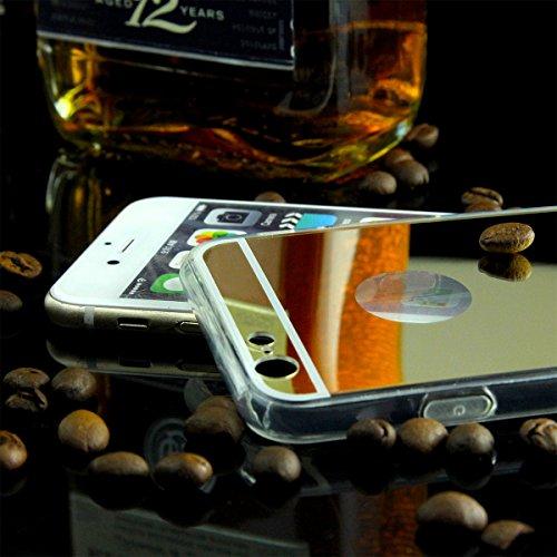 EGO® Luxus TPU Silikon Spiegel Schutz Hülle Back Case für iPhone 7 Plus Silber Handy Cover mit Glanz Mirror spiegelnd, dünn und elastisch Gold