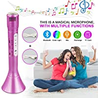 Philonext Bluetooth Karaoke Microphone, Wireless Portable Karaoke Player Machine, Color Changing LED Lights Speaker