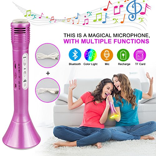 Bluetooth Karaoke-Mikrofon, Karaoke-Player-Maschine, Farbwechsel LED leuchtet Lautsprecher für Home Party Musik singen spielen, Unterstützung IPhone/Android iOS Smartphone/Tablet kompatibel